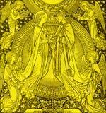De lithografie van Kroning van Maagdelijke Mary door onbekende kunstenaar met de initialen F M S 1885 stock foto