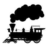 De locomotief van de silhouetstoom royalty-vrije illustratie