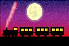 De locomotief van de stoom met wagens vector illustratie
