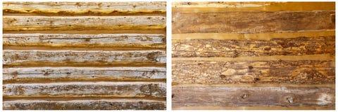 De logboekmuur stapelde doorstane collage als achtergrond Stock Fotografie