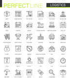 De logistiek verdunt geplaatste de pictogrammen van het lijnweb Het ontwerp van de slagpictogrammen van het vervoersoverzicht vector illustratie
