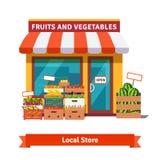 De lokale fruit en van de groentenopslag bouw Stock Foto