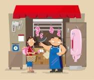 De lokale winkel van de varkensvleesslager ` s in Hong Kong Stock Foto's