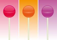 De Lolly van het suikergoed over verschillende kleurenachtergronden Royalty-vrije Stock Afbeelding