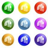 De longenpictogrammen van het longontstekingsvirus geplaatst vector royalty-vrije illustratie