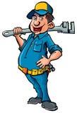 De loodgieter van het beeldverhaal met een moersleutel vector illustratie