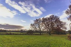 In de loop van de dag geschoten van landschap in Engeland stock afbeelding