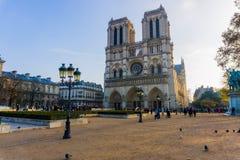 In de loop van de dag geschoten van Parijs van Notre Dame stock afbeeldingen