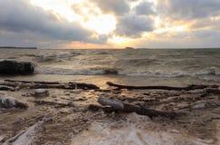 De lopende golven op de zandige snow-covered kust op een reservoir Royalty-vrije Stock Foto's