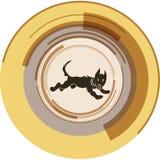 De lopende hond in een tsetra van een abstracte cirkel Stock Foto