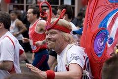 De lopende marathon van de heer Richard Branson royalty-vrije stock foto
