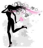 De lopende vrouw met het ontwikkelen van haar Stock Afbeelding