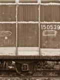 De lorrie van een verlaten trein Stock Afbeeldingen