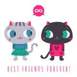 De los amigos el gato gris lindo para siempre en falda y suéter y el gato negro en vestido con la burbuja y el infinito del discu Foto de archivo libre de regalías