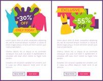 55 de los carteles exclusivos del web del logotipo del descuento Ilustración del Vector
