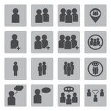 De los iconos del vector personas negras fijados Imagenes de archivo