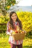 De los jóvenes manzanas de la cosecha del adolescente pre en el jardín Imágenes de archivo libres de regalías
