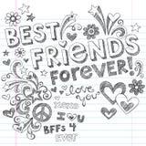 De los mejores amigos Doodles incompletos del cuaderno por siempre Foto de archivo libre de regalías