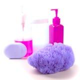 De lotion van de spons, van de zeep en van het lichaam Royalty-vrije Stock Afbeeldingen