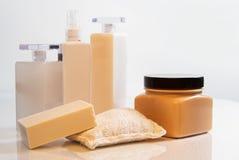 De lotions en de zeep van het lichaam Stock Foto's