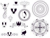 De lotusbloemelementen van de henna Royalty-vrije Stock Afbeeldingen