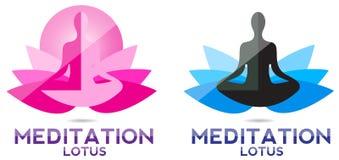 De lotusbloemembleem van de yogameditatie vector illustratie