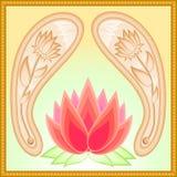 De lotusbloemthema van Paisley Royalty-vrije Stock Afbeeldingen