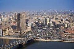 De lucht 6de Oktober brug van Kaïro Egypte Stock Afbeelding