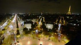 De lucht Mening van de Nacht van Parijs stock video
