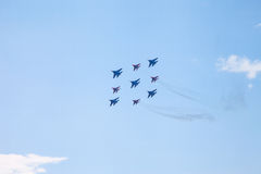 De lucht toont mig-29 en su-34 Royalty-vrije Stock Foto's