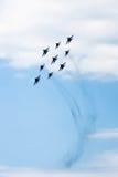 De lucht toont mig-29 en su-34 Stock Foto