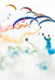 De lucht toont paramotors royalty-vrije stock foto
