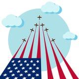 De lucht toont voor de nationale dag van de V.S. vier Royalty-vrije Stock Afbeelding
