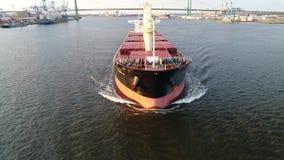 De lucht van het de Containerschip van de Meningslading Rivier Philadelphia van Delaware stock video