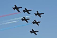 De Lucht van Verenigde Staten toont Rode Wit en Blauw Royalty-vrije Stock Afbeeldingen