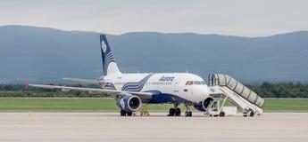 De Luchtbus A319 van passagiers straalvliegtuigen van Aurora Airlines op het vliegveld in bewolkte dag De mobiele ladder is dicht stock fotografie