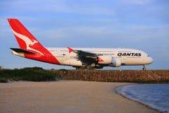 De Luchtbus van Qantas A380 bij de Luchthaven van Sydney, Australië. Royalty-vrije Stock Fotografie