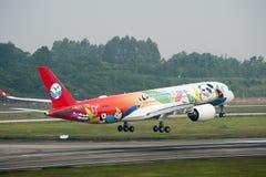 De Luchtbus A350 XWB van Sichuan Airlines ` eerste stock foto's