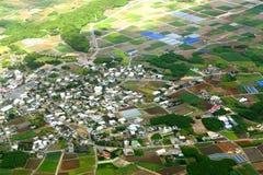 De luchtfoto van het dorp Stock Fotografie
