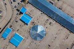 De luchtfotografie is een moderne stedelijke stad stock fotografie