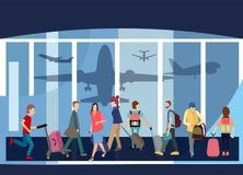 De Luchthaven Hall Departure Terminal Travel Baggage B van reizigersmensen stock illustratie