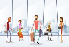 De Luchthaven Hall Departure Terminal van reizigersmensen vector illustratie
