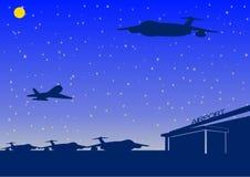 De luchthaven van de nacht stock illustratie