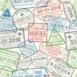 De luchthaven van het reisvisum stempelt naadloos patroon De reizende document, bankschroef of paspoort rubbervector van zegelpat royalty-vrije illustratie