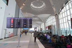 De Luchthaven van Istanboel, de belangrijkste internationale luchthaven die de wachtkamer van Istanboel, Turkije dienen royalty-vrije stock foto's