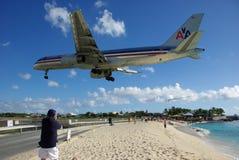 De Luchthaven van Juliana van de prinses, St. Maarten Stock Foto's