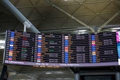 De Luchthaven van Londen Stansted, Augustus 2018, vluchtprogramma stock fotografie