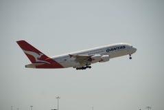 De Luchthaven van Qantas A380 Perth Stock Afbeeldingen