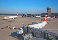 De Luchthaven van Zürich Stock Afbeeldingen