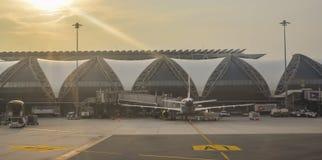 De de Luchthavenbkk bouw van Bangkok Suvarnabhumi stock foto's